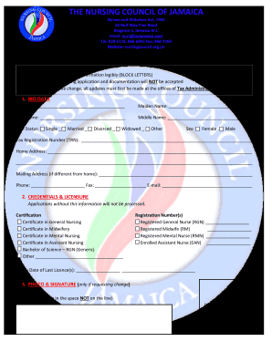Get And Sign Nursing Council Of Jamaica Form