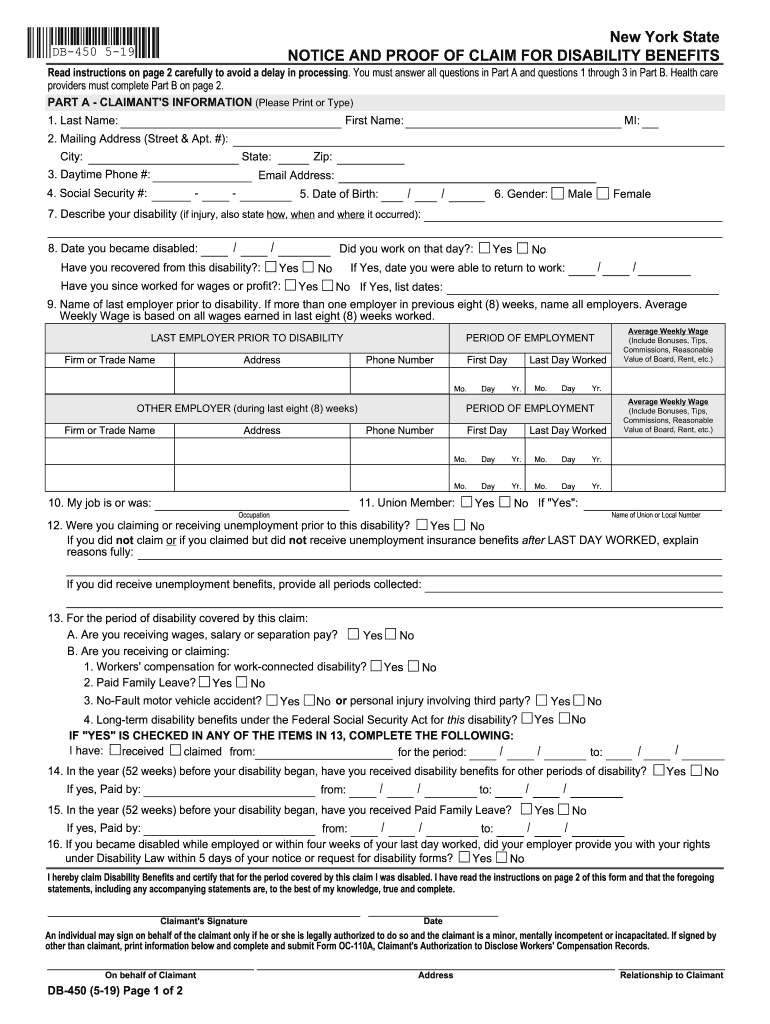Get And Sign Nys Short Term Disability Form Db 450 2019-2021