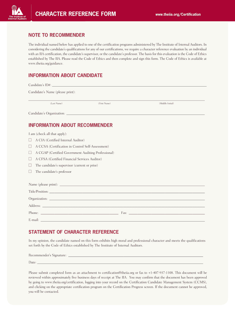 Get And Sign Character Reference Form Cia