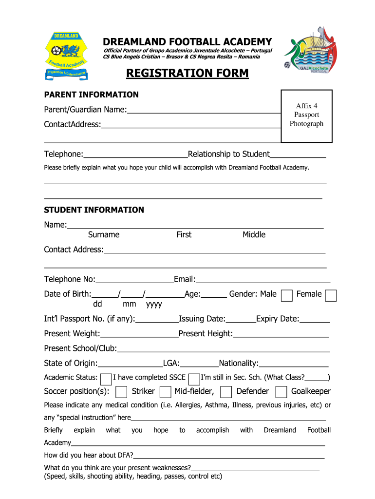Get And Sign Milo Football Academy Registration Form