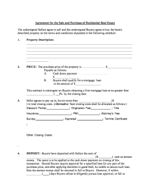 Sample agreement to purchase real estate form