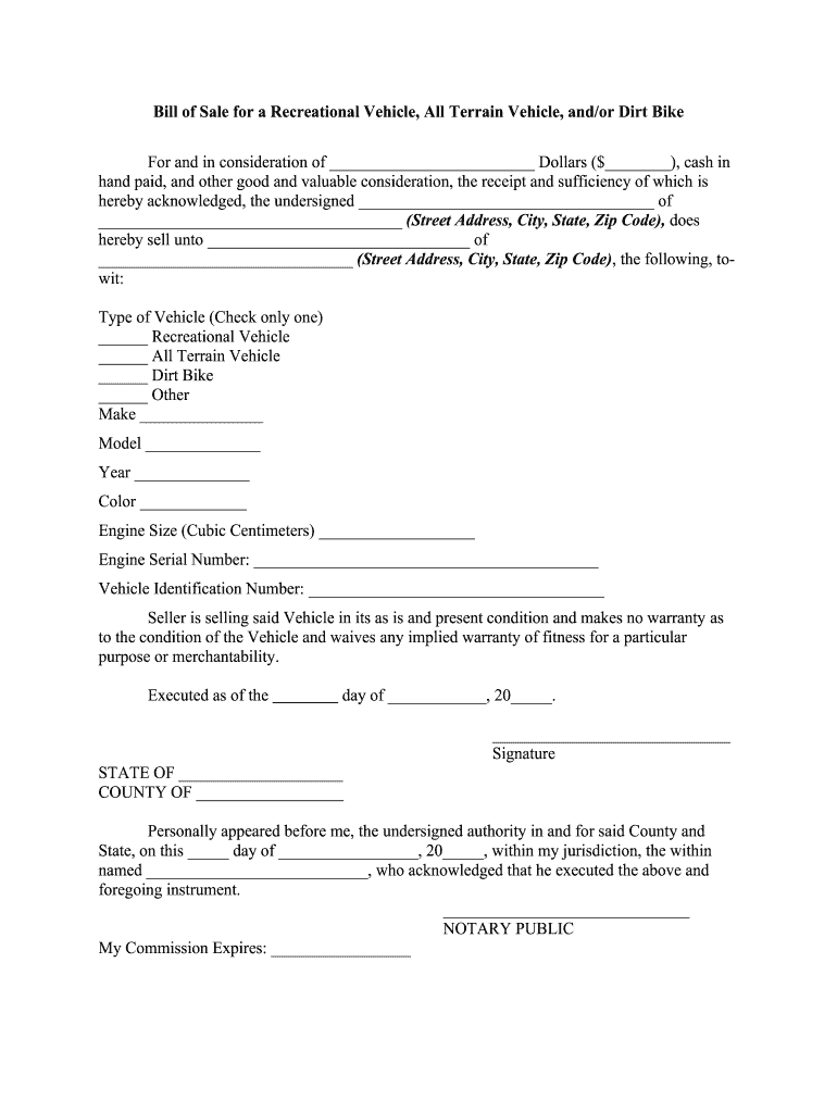 Get And Sign Generic Motorcycle Bill Of Sale Form  Fill Out And Sign