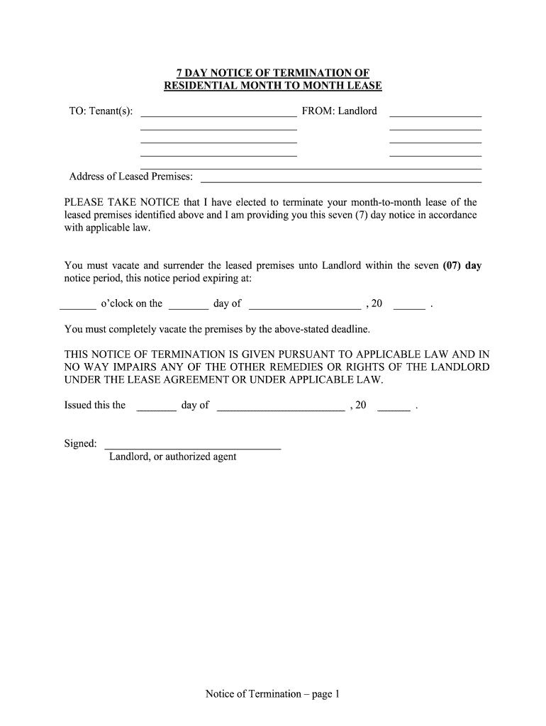 Get And Sign 7 DAY NOTICE OF TERMINATION OF Form
