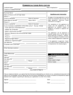 Commercial lease application fill online printable fillable blank form