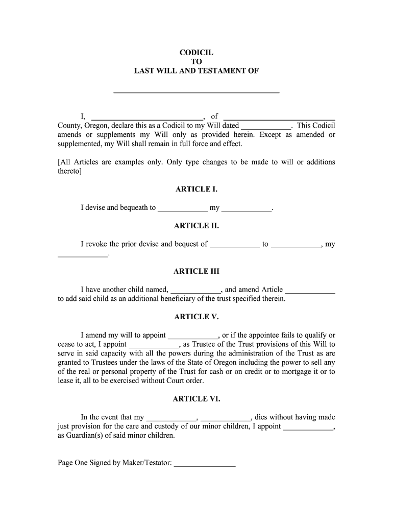 Codicil To Last Will And Testament Sample Template Wonder Legal Fill Out And Sign Printable Pdf Template Signnow