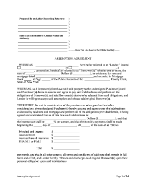 Assumption agreement mortgage form