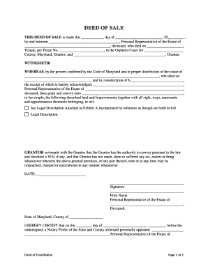 Maryland warranty deed of sale personal us legal forms