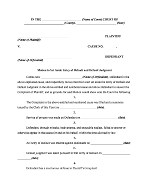 Motion ampamp affidavit to set aside entry of default and accept late filed form