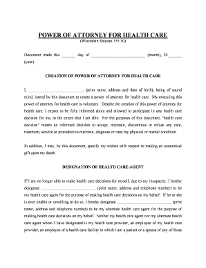 Power of attorney for healthcare uw health form