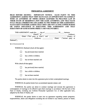 State of alaska including any uniform premarital agreement act or other applicable laws