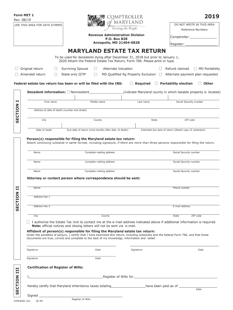 Get And Sign Maryland Met 1 Instructions 2019-2021 Form