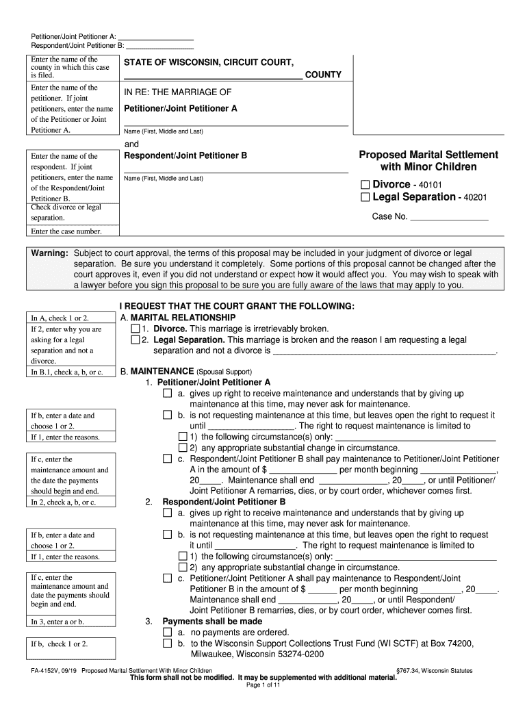 Get And Sign Wisconsin Marital Settlement Form 2019-2021