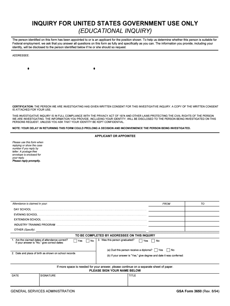 Get And Sign INQUIRY FOR UNITED STATES GOVERNMENT USE ONLY Form