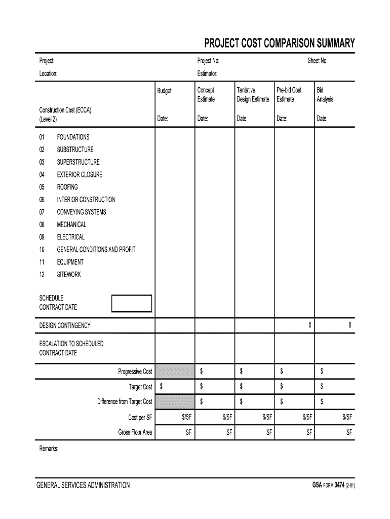 Project Cost Comparison Summary Fill Out And Sign Printable Pdf Template Signnow