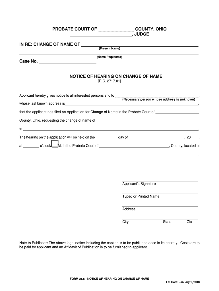 Get And Sign 21 2 Application For Change Of Name Of Minor Allen County 2010-2021 Form