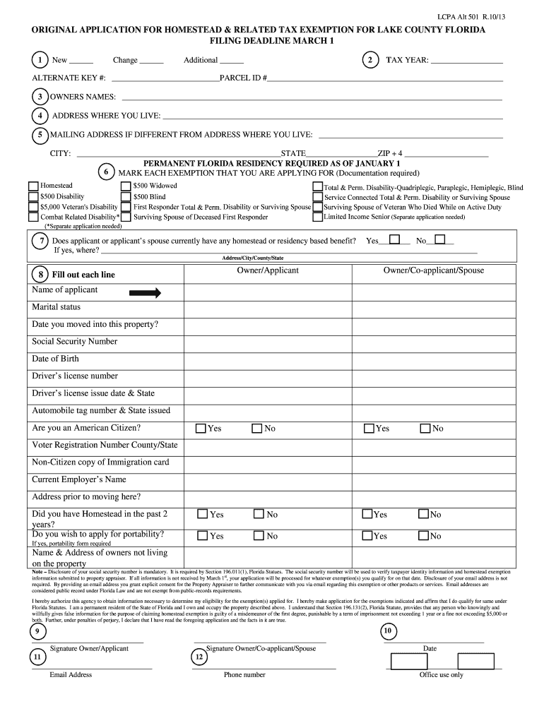 Get And Sign Deadline For Filing For Homestead Exemption Will Be March 1 2019-2021 Form