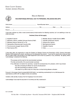 Religious exemption letter.pdf   Knox County Schools form   Fill