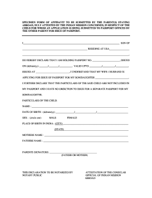Specimen of affidavit for passport for parent staying abroad form