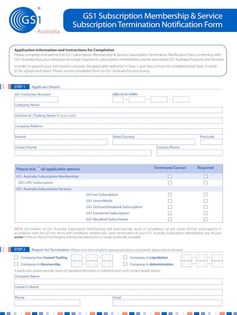 Get And Sign Termination Of Subscription Membership And Service Notification Gs1 Australia 2014-2021 Form