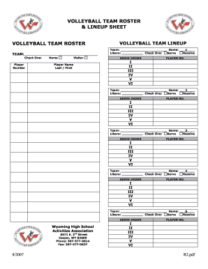 photo relating to Printable Volleyball Lineup Sheet known as VOLLEYBALL Staff members ROSTER amp LINEUP SHEET - Wyoming - whsaa