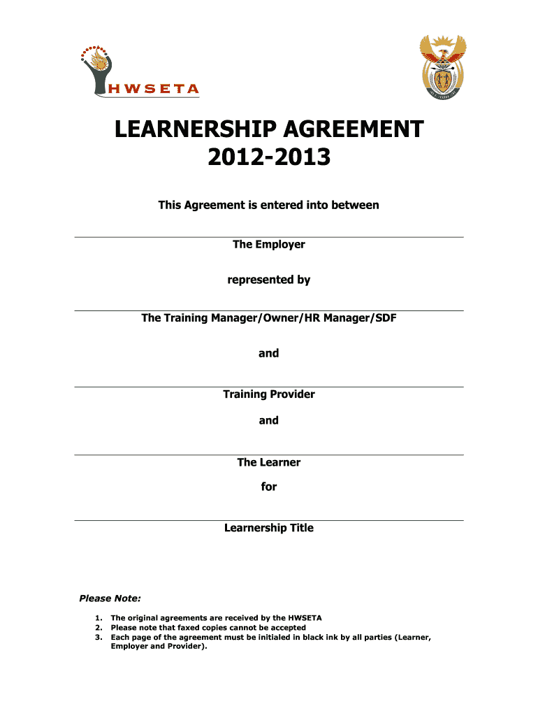 Get And Sign Hwseta Learnership 2012-2021 Form