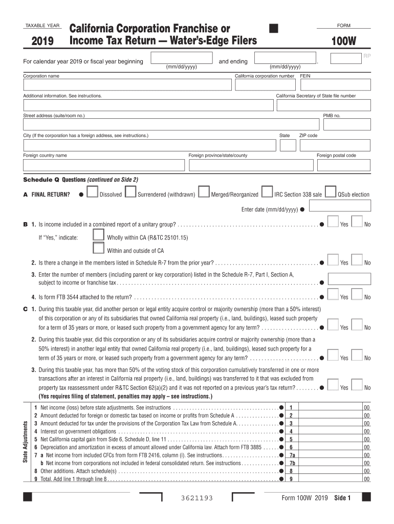 Get And Sign California 100w 2019-2021 Form