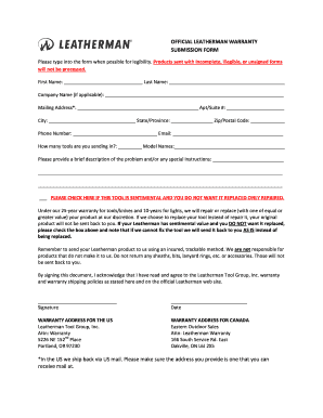 photo regarding As is No Warranty Printable Form titled Leatherman promise type - Fill Out and Indication Printable PDF