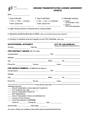 Ground Transportation License Agreement Form Fill Out And