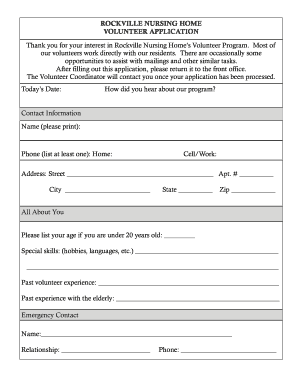 volunteer application forms fill out and sign printable. Black Bedroom Furniture Sets. Home Design Ideas