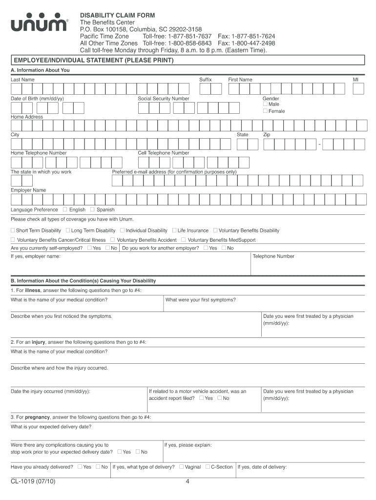 Get And Sign Unum Cl 1019 Form 2010-2021