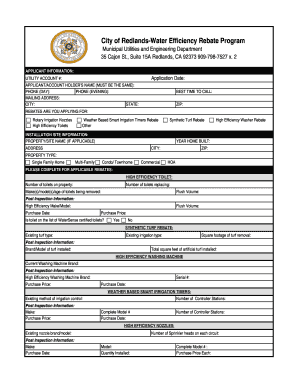 photo relating to Printable Rebate titled Town of redlands rebate style - Fill Out and Indicator Printable