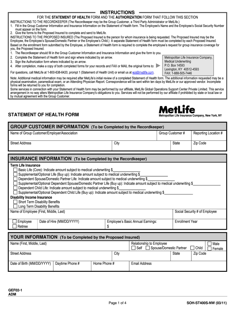 Get And Sign Metlife Soh St400s Mn Form 2011-2021