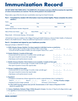 Drexel Immunization Records Form Fill Out And Sign Printable Pdf