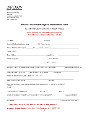 Printable History And Physical Forms Fill Out And Sign Printable