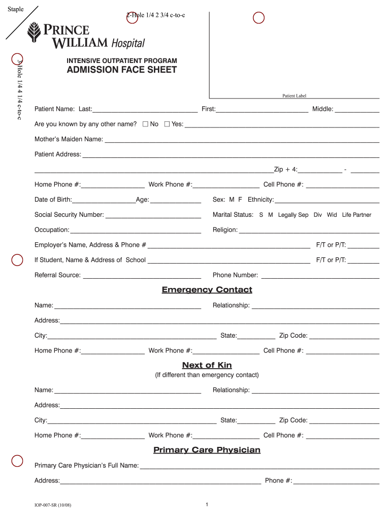 Get And Sign Face Sheet Template 2008-2021 Form