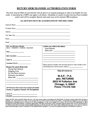 RMA FORM - Midwest Appliance Parts - Fill Out and Sign Printable PDF