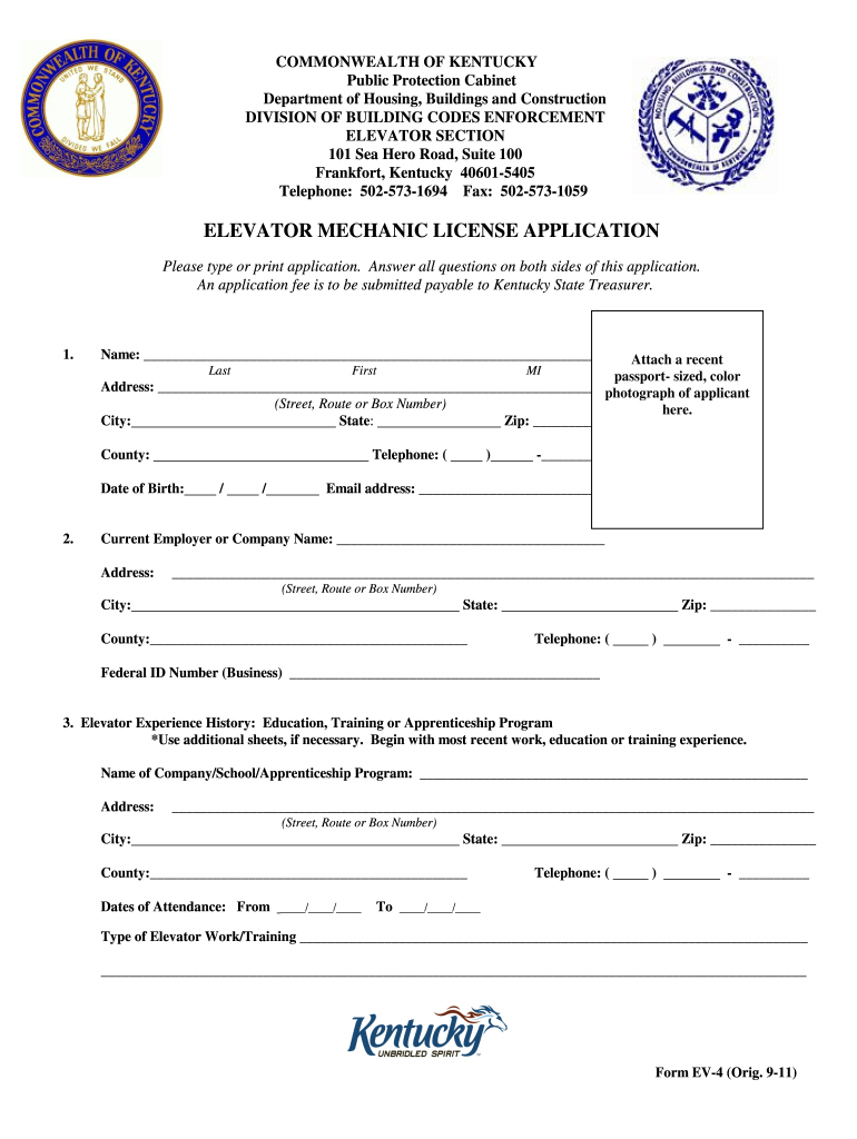 Get And Sign Online Kentucky Elevator License Renewal 2011-2021 Form