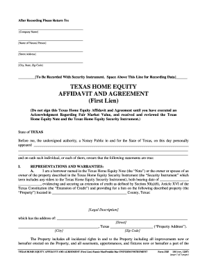 Texas home equity affidavit and agreement form - Fill Out