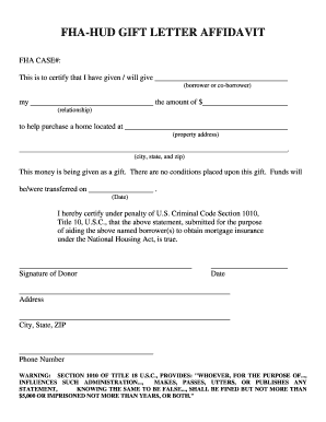 Get And Sign Gift Letter Fha Form