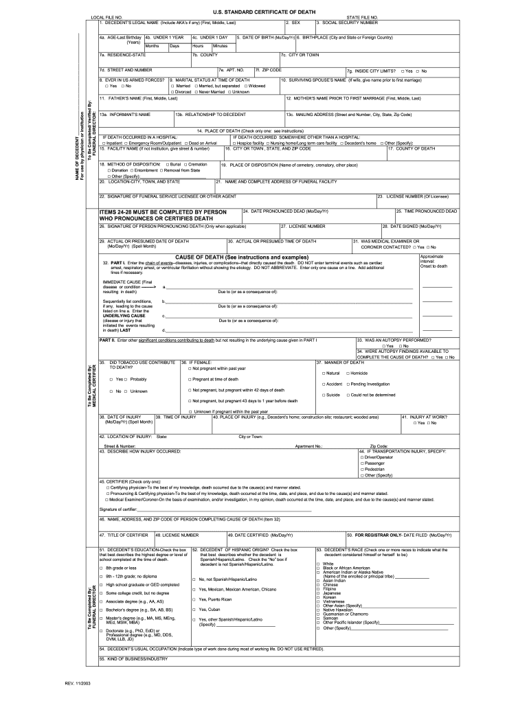 California Death Certificate Form Pdf Fill Out And Sign Printable Pdf Template Signnow