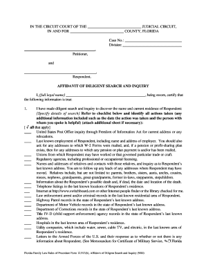 Affidavit of diligent search fillable 2000 form - Fill Out