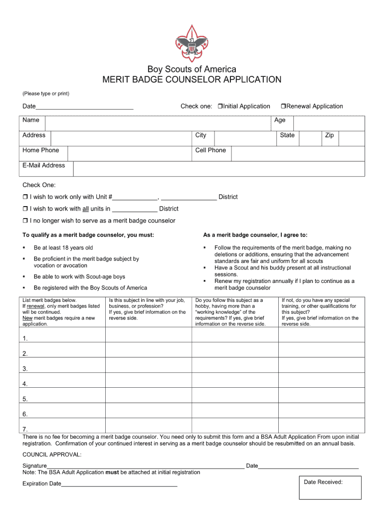 Get And Sign Merit Badge Counselor Form