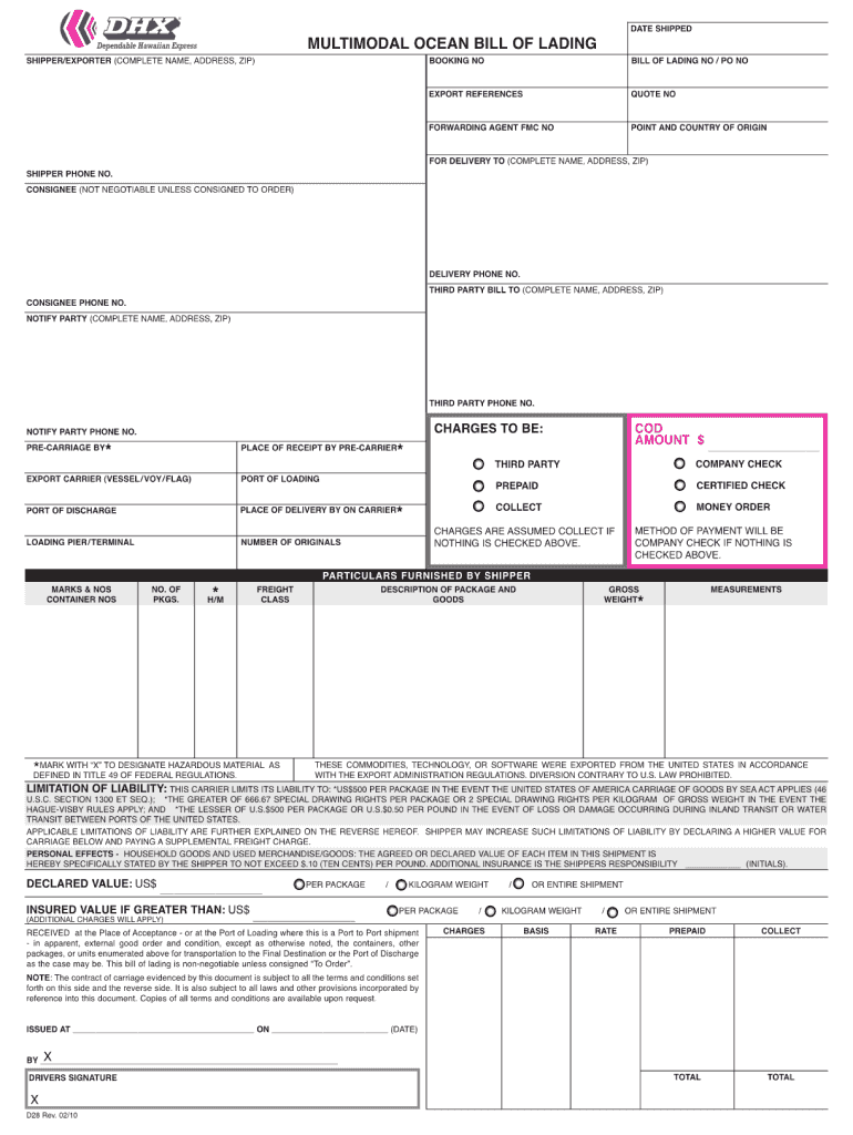 Get And Sign Ocean Bill Of Lading Template 2010-2021 Form
