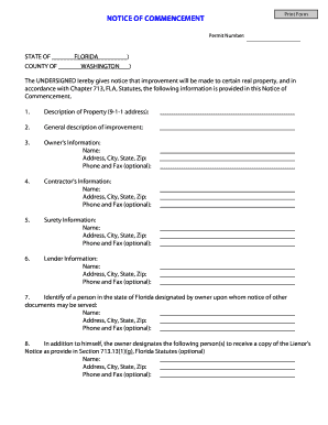 Florida notice of commencement fillable form - Fill Out and Sign