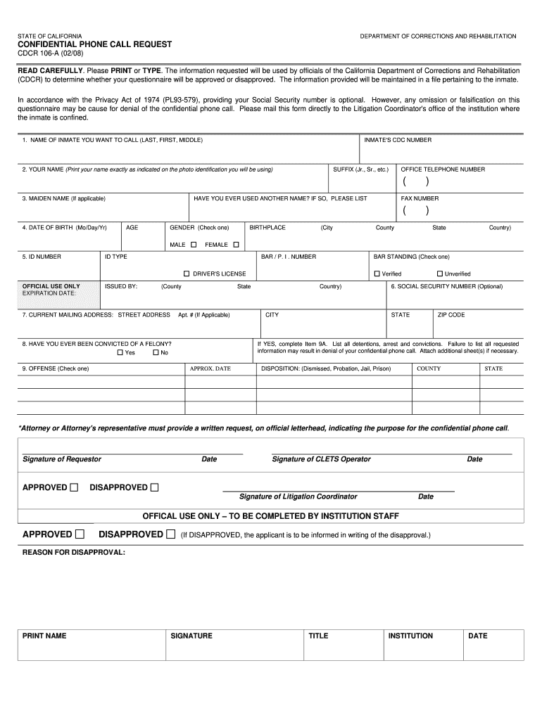 Get And Sign Cdcr 106 Rev 05 17 2008-2021 Form