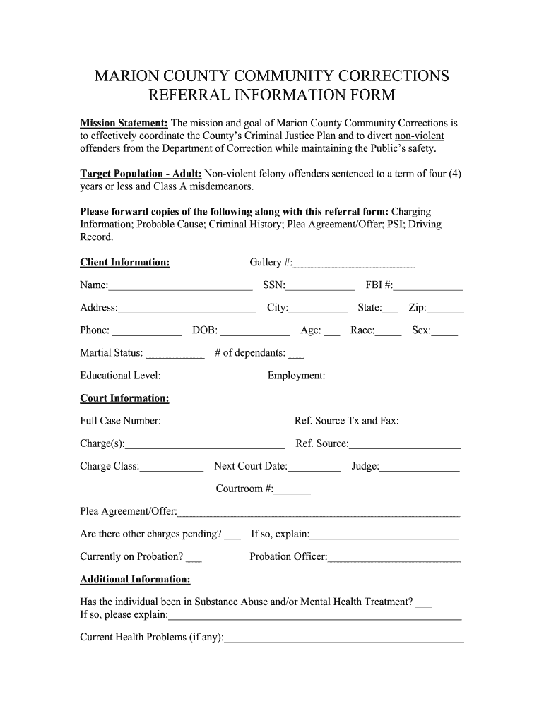 Get And Sign Marion County Community Corrections Form