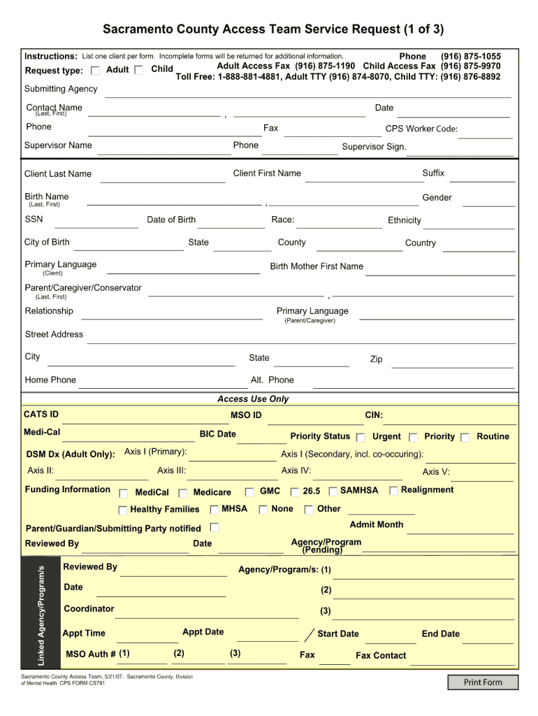 Get And Sign Sacramento County Access Referral 2007-2021 Form