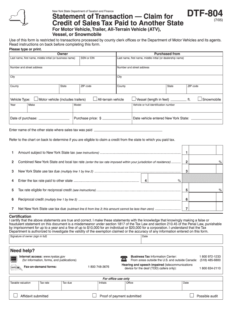 Get And Sign Nys Dmv Dtf 804 Form 2015-2021