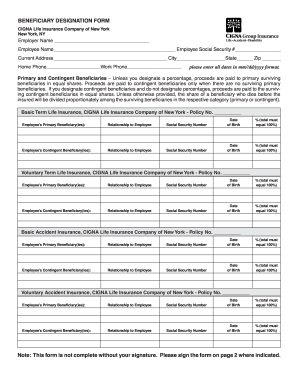 Cigna Life Insurance Beneficiary Form Fill Out And Sign