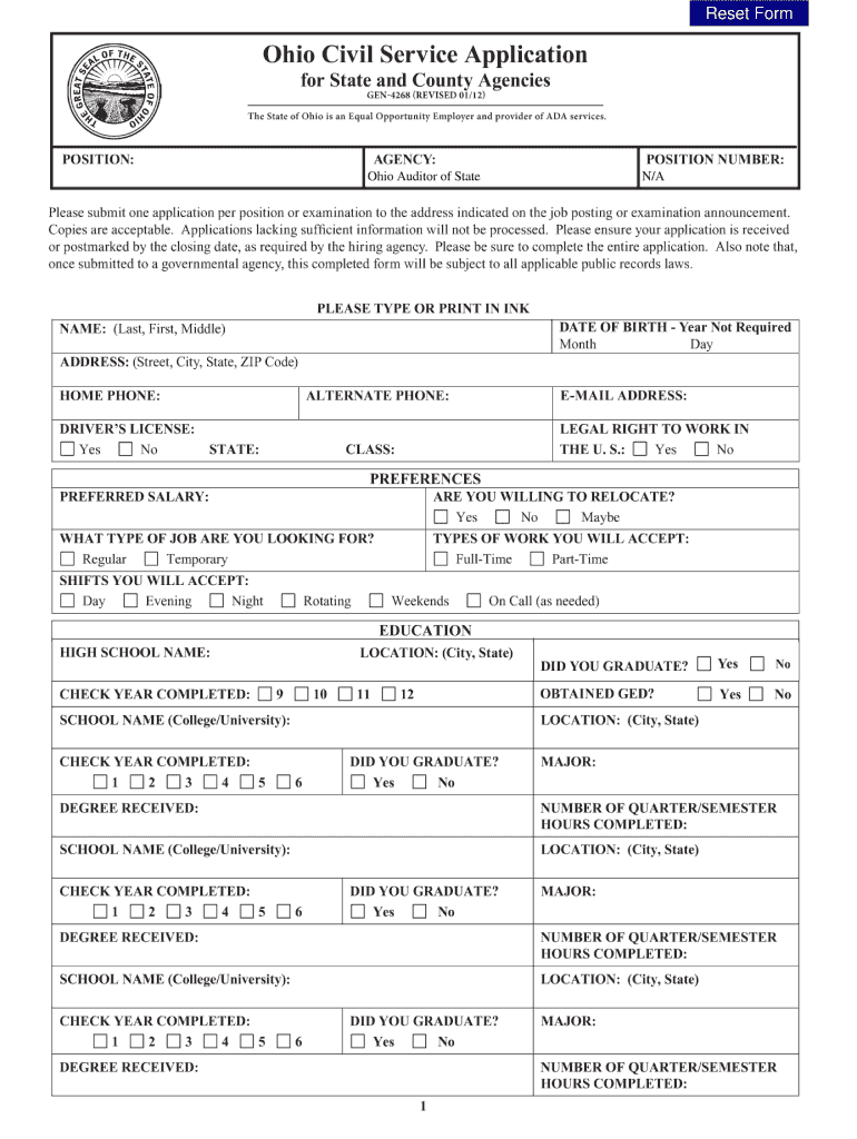 Get And Sign Ohio Civil Service Application Form